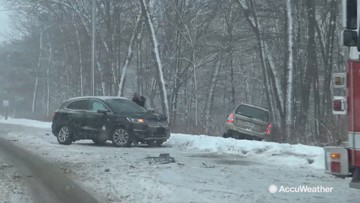 Poor road conditions cause accident