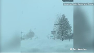 Heavy snow blankets town