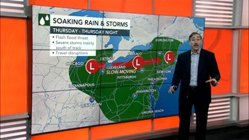 Northeast storm train to end Thursday with threat of severe weather then a nicer weekend