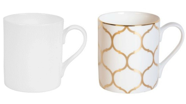 Recalled Fitz and Floyd Nevaeh White Can Mugs