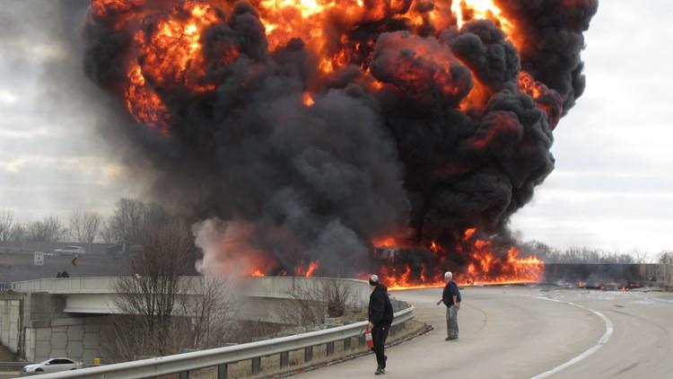 Indiana tanker truck crash/fire.