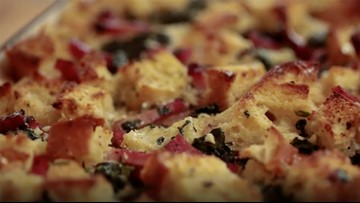 Recipe for a hearty ham and cheese breakfast casserole
