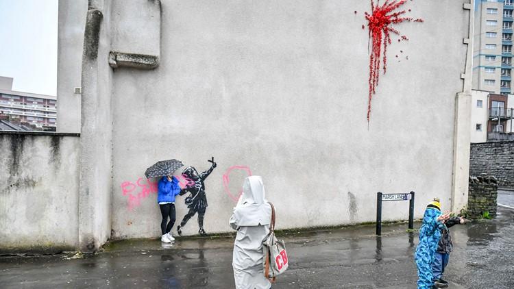 Britain Banksy artwork vandalised