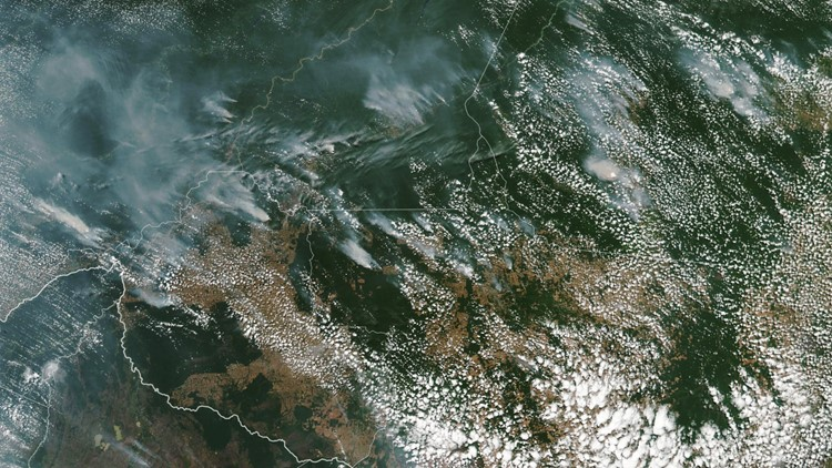 Smoke from fires in Brazil
