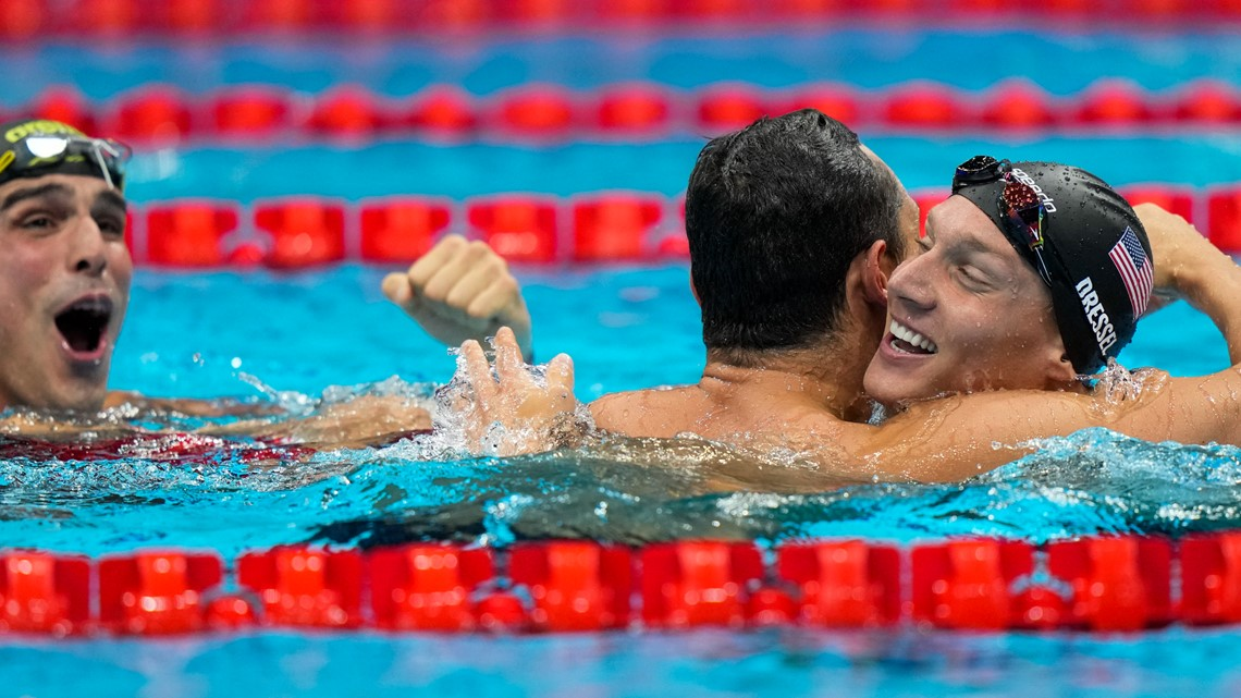 Olympic swimming ends with splashy new records, US gold