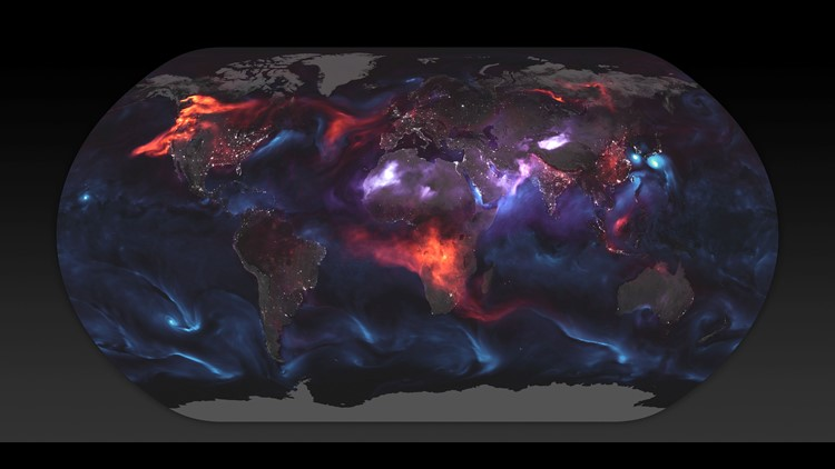 Gorgeous but Terrifying NASA Map Shows Aerosol Clouds Spread Across the Globe