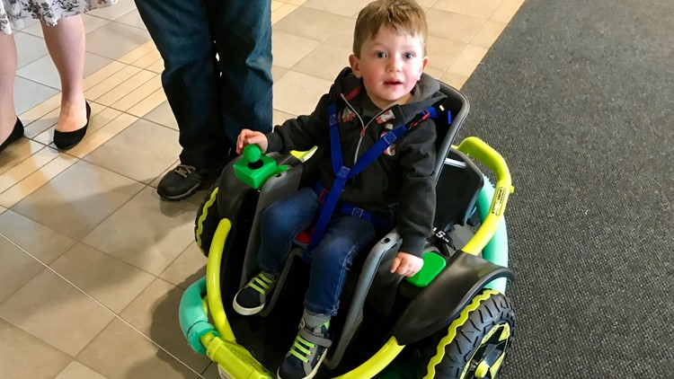 Cillian Jackson in his retrofitted power wheelchair.