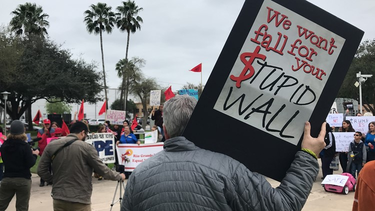 Protesters rally against President Trump's national emergency declaration at Archer Park in McAllen, Texas