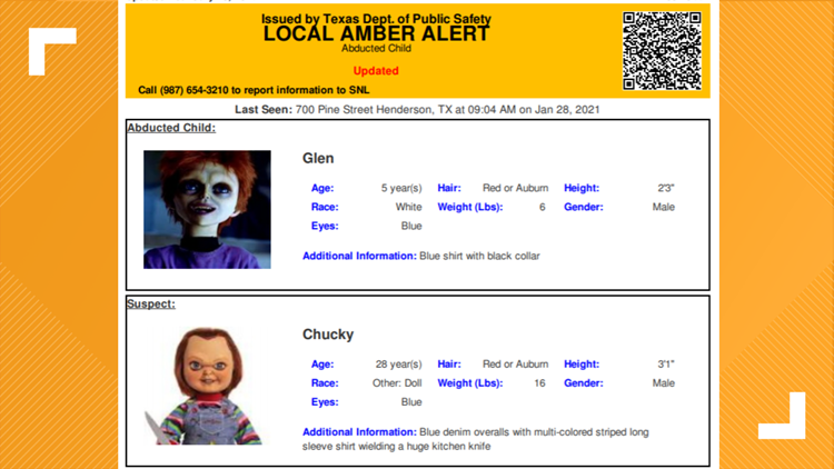 Texas DPS mistakenly sends out Amber Alert for Chucky doll