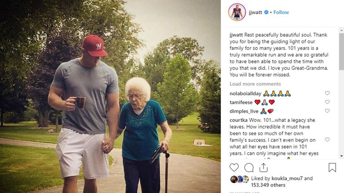 J.J. Watt: Great-grandmother was 'guiding light' of family