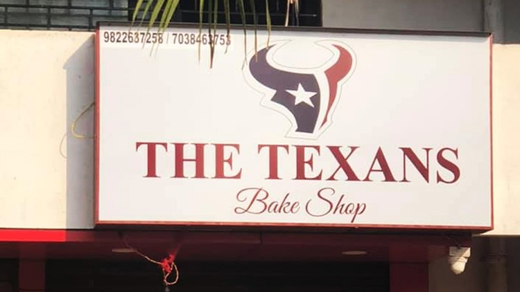 A bakery in a village in India is named after the Houston Texans — and it has their logo