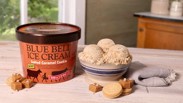 Blue Bell's new Salted Caramel Cookie ice cream in stores today