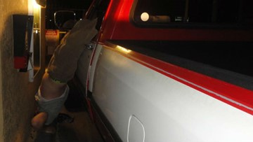 Suspected impaired driver gets foot stuck in steering wheel