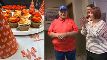 Whataburger throws surprise 90th birthday party for superfan