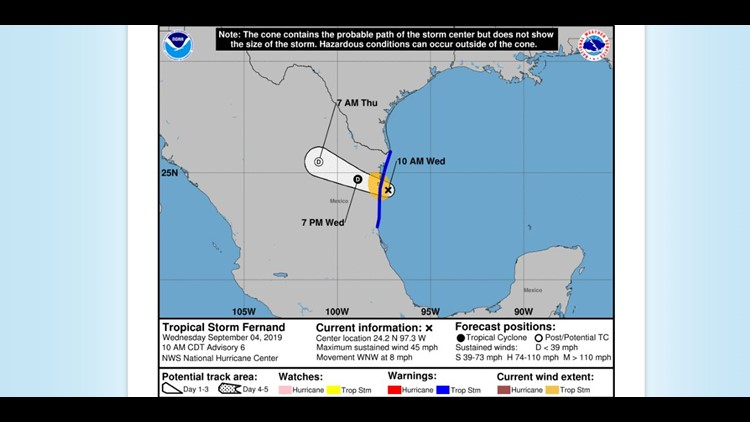 10 a.m. update for Tropical Storm Fernand