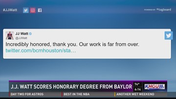 J.J. Watt scores honorary degree from Baylor
