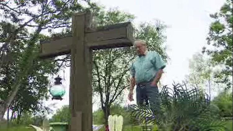 Tim Miller put up a cross in memory of daughter Laura.