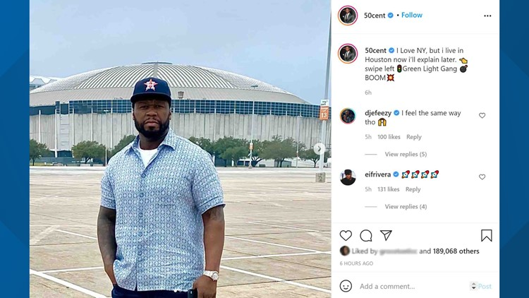 Rapper 50 Cent says he's moved to Houston