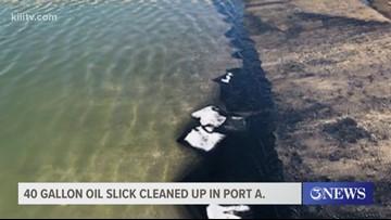 Crew works to clean 40-gallon oil slick along Port Aransas Municipal Boat Ramp