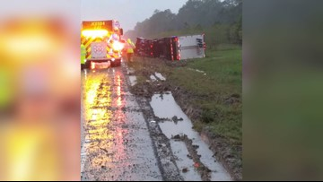 Two rollover crashes on I-10 Monday morning after heavy rain