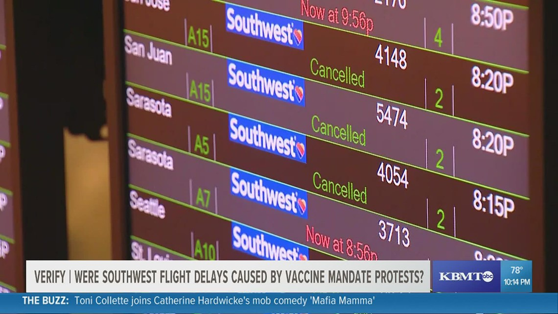 VERIFY: Were Southwest Airlines' delays caused by employees protesting against a vaccine mandate?