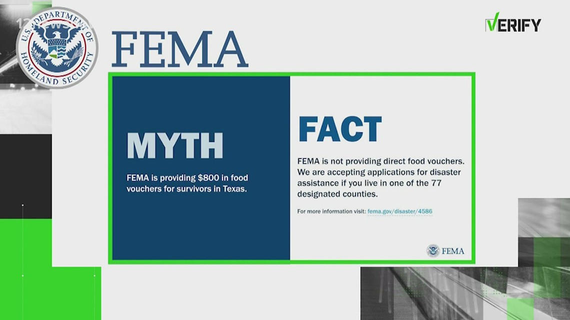 VERIFY: Is FEMA providing $800 food vouchers in wake of winter storm?