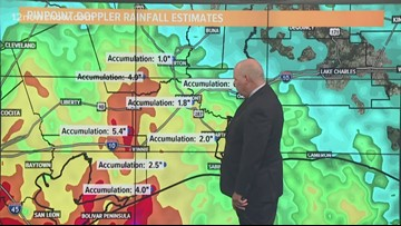 Flash flood watch in effect as Imelda moves north