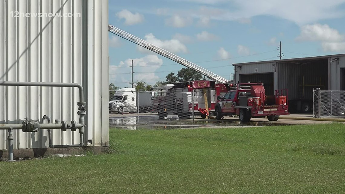 Tanker truck delivering diesel fuel catches on fire at Beaumont truck company