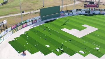 Crews install 'state of the art' artificial turf at Lamar's Vincent-Beck Stadium