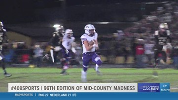 Port Neches-Groves High School beats Nederland 27 - 21  in the 96th Mid-County Madness game