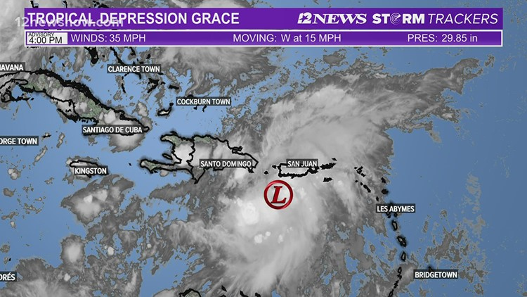 Tropical Depression Grace track