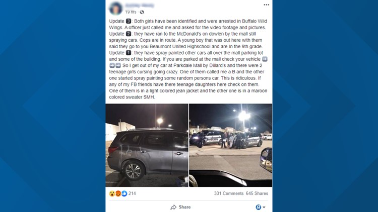 Facebook post claims SUV vandalized in Parkdale Mall parking lot ...