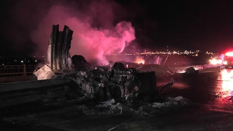 18-wheeler wreck, fire shuts down IH-10 bridge in Lake Charles pending bridge inspection