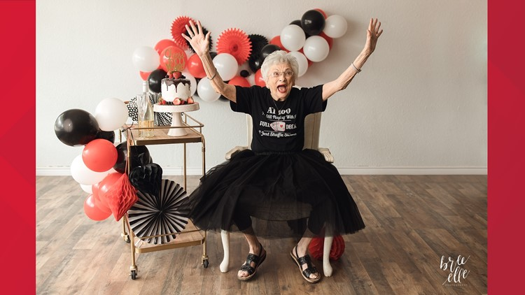 'Still playing with a full deck,' Nederland woman celebrates 100th birthday with adorable photo shoot