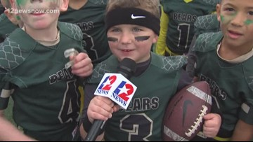 Little Mustangs and Bears battle in pee wee flag football Super Bowl