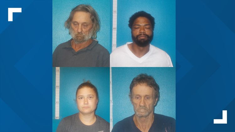 Hardin County arrests-Michael Carter, 33, Ashley Johnston, 26, Ben Harris, 56, and Kirkland Creel, 56