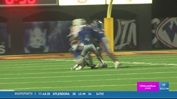 West Brook High School's Markel Clark makes the week 8 Ram Tough Hit of the Week