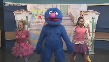 Grover and Friends give a sneak peek at Sesame Street Live! Let's Party!