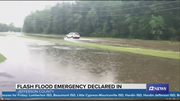 Water receding along Dowlen Road in north Beaumont; some high spots remain