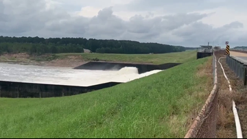 All eleven Toledo Bend Reservoir spillway gates open, water release tripled since early Friday morning