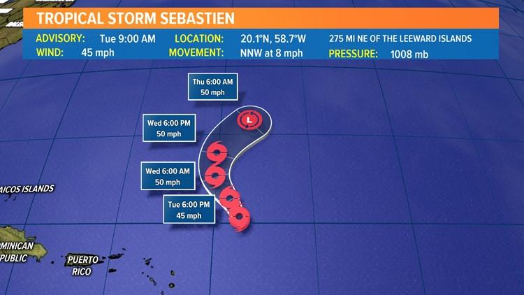 Tropical Storm Sebastien forms in the Atlantic