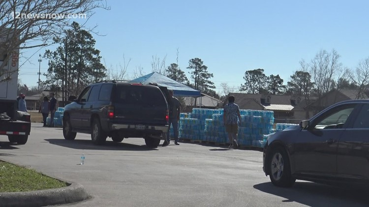 Winter Storm Aftermath: Free bottled water distribution in Orange