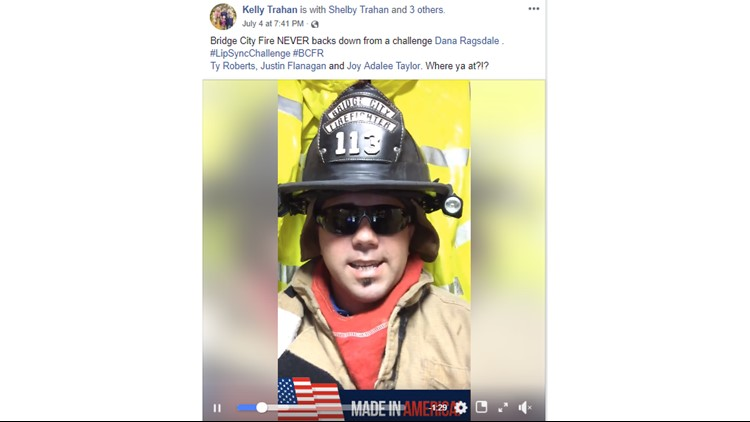 "Bridge City volunteer firefighter Kelly Trahan answers the #LipSyncChallenge with Carly Rae Jepsen's ""Call Me Maybe."""