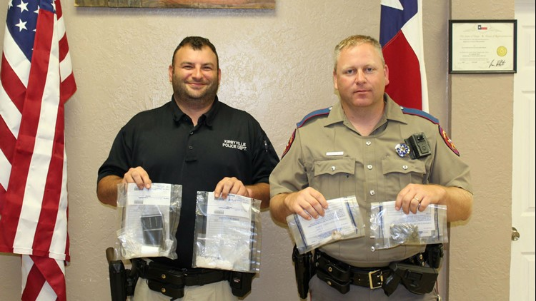 A Kirbyville Officer and Texas State Trooper find a concealed container with drugs after making a traffic stop on Tuesday.
