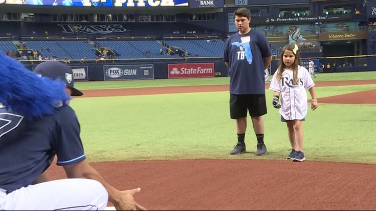 The ceremonial pitch for the Rays and Orioles was thrown by Hailey Dawson from Las Vegas, who just so happens to have a 3-D printed prosthetic hand.