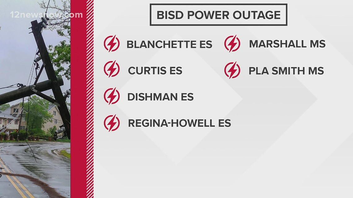 Multiple Southeast Texas schools without power due to severe weather Wednesday