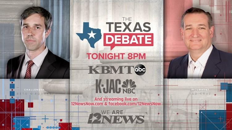 5dc34d0cc6a WHERE TO WATCH: The Texas Debate - Cruz vs. O'Rourke | 12newsnow.com