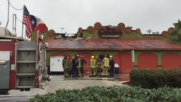La Cantina Mexican Grill's roof lit up with flames Saturday morning in Beaumont