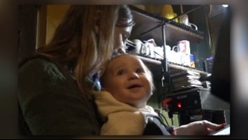 Mom Straps On Baby To Wait Tables At M'Coul's During Snow Storm