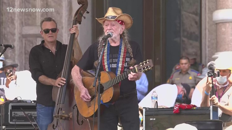 Country singer Willie Nelson performed at Austin voting rights rally
